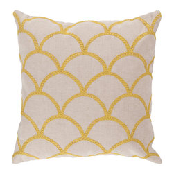 """Surya - Square Pillow COM-010 - 18"""" x 18"""" - With a lovely pattern resembling scales, this pillow is on trend. Colors of sunshine yellow and peach cream accent this decorative pillow. This pillow contains a poly fill and a zipper closure. Add this pillow to your collection today."""