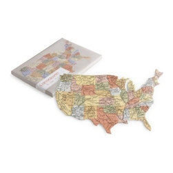 Rosanna - Cartography Usa Tray By Rosanna - Show your patriotism with detailed maps of the United States and Manhattan, either for food or display.