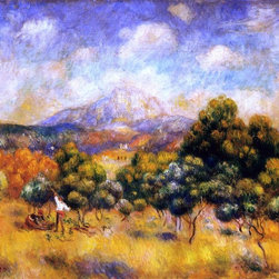 """Pierre Auguste Renoir Mount Sainte-Victoire - 16"""" x 20"""" Premium Archival Print - 16"""" x 20"""" Pierre Auguste Renoir Mount Sainte-Victoire premium archival print reproduced to meet museum quality standards. Our museum quality archival prints are produced using high-precision print technology for a more accurate reproduction printed on high quality, heavyweight matte presentation paper with fade-resistant, archival inks. Our progressive business model allows us to offer works of art to you at the best wholesale pricing, significantly less than art gallery prices, affordable to all. This line of artwork is produced with extra white border space (if you choose to have it framed, for your framer to work with to frame properly or utilize a larger mat and/or frame).  We present a comprehensive collection of exceptional art reproductions byPierre Auguste Renoir."""