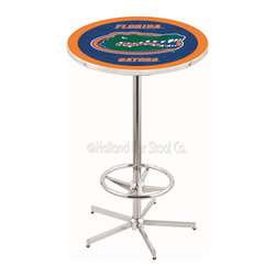 Holland Bar Stool - Holland Bar Stool L216 - 42 Inch Chrome Florida Pub Table - L216 - 42 Inch Chrome Florida Pub Table  belongs to College Collection by Holland Bar Stool Made for the ultimate sports fan, impress your buddies with this knockout from Holland Bar Stool. This L216 Florida table with retro inspried base provides a quality piece to for your Man Cave. You can't find a higher quality logo table on the market. The plating grade steel used to build the frame ensures it will withstand the abuse of the rowdiest of friends for years to come. The structure is triple chrome plated to ensure a rich, sleek, long lasting finish. If you're finishing your bar or game room, do it right with a table from Holland Bar Stool.  Pub Table (1)