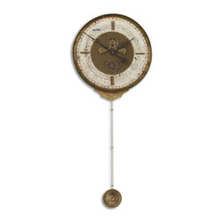 Uttermost - Leonardo Chronograph Cream Wall Clock - Weathered Laminated Clock Face With A Cast Brass Outer Rim, Brass Center Components And Long Working Pendulum. Requires 1-AA And 1-D Battery.