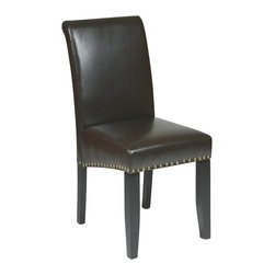 Office Star - Office Star Metro Parsons Nail Head Dining Chair in Espresso - Office Star - Dining Chairs - MET87ES