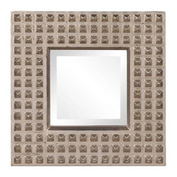 Howard Elliott Studded Silver Square Mirror - Bright Silver Leaf with Black Highlights Studded square mirror.