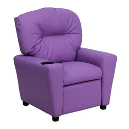 Flash Furniture - Contemporary Lavender Vinyl Kids Recliner with Cup Holder - Kids will now be able to enjoy the comfort that adults experience with a comfortable recliner that was made just for them! This chair features a strong wood frame with soft foam and then enveloped in durable vinyl upholstery for your active child. Choose from an array of colors that will best suit your child's personality or bedroom. This petite sized recliner will not disappoint with the added cup holder feature in the armrest that is sure to make your child feel like a big kid!