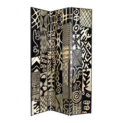 Wayborn - Wayborn African Motif Room Divider in Black/Silver - Wayborn - Room Dividers - 1348 - Wayborn coromandel screen start with a cedar plywood frame covered in a cheesecloth material. Then layer after layer of plaster is applied; each layer must dry before another layer can be applied. After all the plaster has been applied several coats of lacquer is put over the entire surface. The design is drawn onto life-sized paper and carefully traced on to the panels. The craftsman then hand carves the design into the screen through the lacquer into the plaster. Once the screen is done it is painted with water based paint or silver/gold leaf is applied and sealed with a clear lacquer coat.