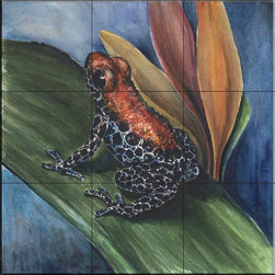 The Tile Mural Store (USA) - Tile Mural - Blue Jean Frog  - Kitchen Backsplash Ideas - This beautiful artwork by Charlsie Kelly has been digitally reproduced for tiles and depicts a closeup of a colorful frog    This tile mural with frogs would be perfect as a part of your kitchen backsplash tile project or your tub and shower surround bathroom tile project. Images of frogs on tile make an impressive kitchen backsplash idea and are great to use in the bathroom too for your shower tile project.