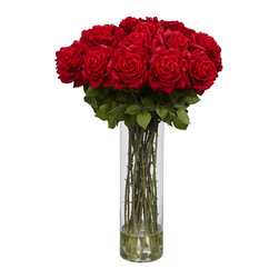 Nearly Natural - Giant Rose Silk Flower Arrangement - Enjoy the timeless beauty of the eternal symbol of romance: The rose. Our Giant Rose arrangement is brimming with a large number of rich deep colored roses that sit majestically on a bed of vivid green leaves, and stands 31 inches high. The glass vase comes with liquid illusion faux water, and encases the thorny green stems oh-so-perfectly.  This is by far our most elegant selection of all our rose arrangements.
