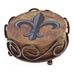None - Thirstystone Cork Fleur de Lis Coasters in a Bronze Scroll Holder - Give guests a regal spot to put their drinks and protect your furniture at the same time with these Thirstystone fleur-de-lis coasters in a bronzed steel holder. This set of six coasters is crafted from all-natural cork for long-lasting performance.