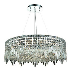 "PWG Lighting / Lighting By Pecaso - Chantal 18-Light 32"" Crystal Chandelier 1727D32C-SS - The unique design of the Chantal Collection inspires any room setting. Dazzling spectacles of light sparkles throughout the fixture creating a modern, yet timeless beauty and elegance."