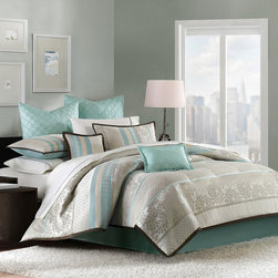 Madison Park - Madison Park Paige 8 Piece Comforter Set - Give your room a fresh updated look with the Paige bedding collection. The comforter and sham features a jacquard pattern that is woven into a mix of different prints and motifs. The collection is in soft neutral taupe color palette with a pop of aqua. The Euro shams feature an aqua brushed polyester fabric that is quilted into a diamond pattern. A solid aqua color bedskirt is included to give a finished look. Two decorative pillows with quilting and coordinating print details complete this whole look. Comf & sham face: 100% polyester jacquard, back: 100% polyester microfiber 75gsm brushed fabric solid; Filling: 270gsm poly fill; Bedskirt: 100% polyester fabric for drop, non woven for platform; Euro sham: 100% polyester fabric solid with quilting; Pillows: 100% polyester cover with poly fill.