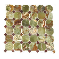 "Marbleville - Green Onyx 3"" x 3"" Octacgon Pattern Polished Finish with 1"" Red Dot Insert Mesh- - Premium Grade Green Onyx 3"" x 3"" Octagon with 1"" Red Insert Polished Mesh-Mounted Marble Mosaic is a splendid Tile to add to your decor. Its aesthetically pleasing look can add great value to the any ambience. This Mosaic Tile is constructed from durable, selected natural stone Marble material. The tile is manufactured to a high standard, each tile is hand selected to ensure quality. It is perfect for any interior/exterior projects such as kitchen backsplash, bathroom flooring, shower surround, countertop, dining room, entryway, corridor, balcony, spa, pool, fountain, etc."