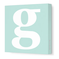"""Avalisa - Letter - Lower Case 'g' Stretched Wall Art, 18"""" x 18"""", Sea Green - Spell it out loud. These lowercase letters on stretched canvas would look wonderful in a nursery touting your little one's name, but don't stop there; they could work most anywhere in the home you'd like to add some playful text to the walls. Mix and match colors for a truly fun feel or stick to one color for a more uniform look."""