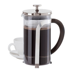 OGGI - 8-Cup Borosilicate Glass French Press - Brew fresh French press coffee with this chic maker crafted from steel and heat-resistant borosilicate glass. Its stay-cool handle with a comfort grip ensures easy serving beyond the first cup. �� 6.5'' W x 8.5'' H x 4'' D Holds eight cups Borosilicate glass / steel Hand wash Imported