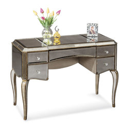 Bassett Mirror Company - Bassett Mirror Collette Mirrored Cabriole Leg Desk - Bassett Mirror Collette Mirrored Cabriole Leg Desk