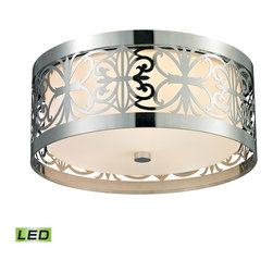 Elk Lighting - Willow Bend LED 3-Light Flush Mount in Polished Chrome - Willow Bend (existing) Collection 3 light flush mount in polished chrome - LED, 800 lumens (2400 lumens total) with full scale dimming range, 60 watt (180 watt total)equivalent , 120V replaceable LED bulb included.