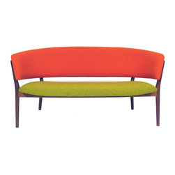 Nanna Ditzel Model 83L Settee - This mid-century piece is upholstered in bright orange and acid green. The strong colors work with the simple shape and teak frame. It would be a major statement piece to design a room around.