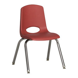 "Ecr4kids - Ecr4Kids Kids Classroom 14"" Stack Chair - Chrome Legs Red, 6 Pack - Innovative school stack chair features a molded seat with vented back, reinforced ribbing in back and under seat for strength, steel legs with steel lower back support. No penetration of screws through the seat surface. Traditional standard glides."