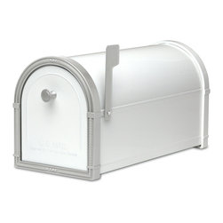 Architectural Mailboxes - Bellevue Post Mount Mailbox White with Platinum Accents - The Bellevue Mailbox has a solid die cast aluminum frame and knob. The door hinge and hardware are made of stainless steel. All parts of the Bellevue are completely powder coated and finished prior to assembly. Approved by the US Postmaster General.  Mailbox specifications are 18  gauge galvanized steel body and door is constructed of 14 gauge galvanized steel.