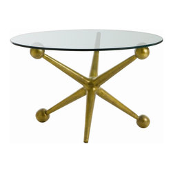 Arteriors - Jack Cocktail Table - Express your quirky style with this accent table. A giant jack, made of aluminum and given an antique brass finish, forms the playful base for a simple round of glass.