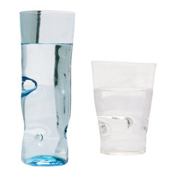 Esque - Dent Collection Cup, Light Blue, Small - Make an impression with this handmade art glass tumbler. High-quality glass in clear or light blue is handblown and impressed with small dents for extra texture and one-of-a-kind appeal. Choose a piece to complement your own set — or get the whole collection.