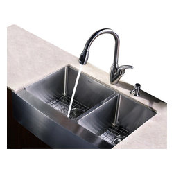 Kraus - 33 in. Farmhouse Double Bowl Sink with Faucet and Soap Dispenser - Add an elegant touch to your kitchen with unique Kraus kitchen combo