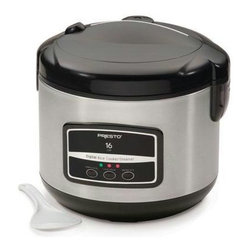 Presto - 16 Cup Digital Rice Cooker & Steamer - Presto 16 Digital Stainless Steel Rice Cooker/Steamer. Cooks white or brown rice to perfection every time. Automatically switches to keep warm mode. Digital push buttons controls with special setting for brown rice. Cooks 4 to 16 cups of rice and keeps it serving hot for hours. Simple to use, just add rice and water. It automatically switches to the keep-warm mode when cooking time is complete. Indicator lights show cook functions for white and brown rice plus the keep-warm mode. Easy to open hinged cover features a carrying handle and removable steam vent. Removable nonstick pot for easy serving and cleaning. Handy steaming basket lets you conveniently steam vegetables and cook rice at the same time. Includes nonstick pot, steaming basket, rice paddle and handy measuring scoop.
