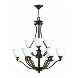 Hinkley Lighting - Hinkley Lighting 4657-OPAL Bolla 9 Light 2 Tier Chandelier - Nine Light 2 Tier Chandelier with Etched Opal Shade from the Bolla CollectionFeatures: