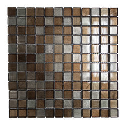 GL STONE - Brown & Silver background Glossy Glass Mosaic Tiles, 1 Carton ( 11 Sheets ) - 1 in. x 1 in. Brown and Silver Glossy Square Pattern Glass Mosaic Tile is a great way to enhance your decor with a traditional aesthetic touch. The mix pattern brings a distinctive design and will add a nice touch for a contemporary and modern room. This Glossy Mosaic Tile is constructed from durable, impervious Glass material, and comes in a polish finish.It is also suitable for installation on floors, walls and countertops in commercial and residential spaces such as bathrooms and kitchens.