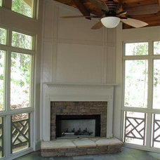 Screened Porch with Painted Corner Fireplace - Screened Porches Photo Gallery -