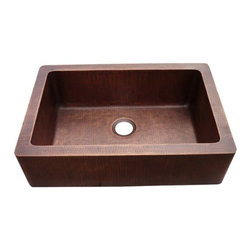 Yosemite Home Decor - Farmhouse Copper Sink Hammered Single Bowl - Hammered Single Bowl Farmhouse Sink which utilizes 16 gauge copper for maximum structural rigidity, multi-sided sound dampening pads
