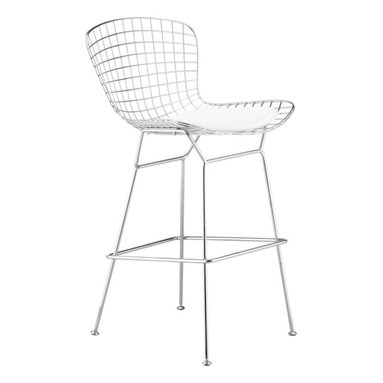 Zuo Modern - Zuo Wire Barstool in Chrome [Set of 2] - Barstool in Chrome belongs to Wire Collection by Zuo Modern An icon of Mid-Century modern, the Wire comes in three finishes, chrome, matte black, or matte white, as well as in two heights: dining and bar. It is made of a welded solid steel frame with six cushion color options: black, white, red, green, gray, and espresso. Sold separately. Barstool (2)