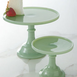 """""""Jadeite"""" Cake Plates - I keep wanting to start a jadeite collection when I'm out perusing antique stores. These cake pedestals in cool green glass are actually very affordable and can be stacked for parties."""