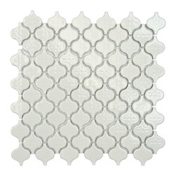 SomerTile Mini White Porcelain Mosaic Tile (Pack of 10) - This sweet little Moroccan pattern is quite a deal.