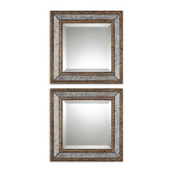 Uttermost - Uttermost Norlina Squares Antique Mirror Set of 2 13790 - Frame's inner and outer edges are heavily antiqued gold leaf with dark gray wash with antiqued mirror center panels. Center mirrors are beveled.