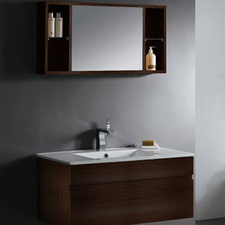 Vigo - Vigo Picaso Vanity with Medicine Cabinet - Update your bathroom decor with this handsome vanityWall mounted wenge wood cabinet has soft closing and sliding drawersMedicine cabinet comes with a matching white porcelain sink