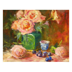 'Ming Jar With Pink Roses' Framed Oil Painting - Make an impression with this one-of-a-kind original find. Impressionist artist Nyla Witmore breathes life into this still life oil painting. Hang it in your living room, dining room or den to add a traditional touch to your walls.