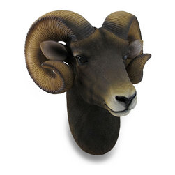 Zeckos - Ram Head Bust Sculptural Wall Hanging - This animal friendly, cruelty free ram's head wall sculpture, with its unmistakable curved horns, is a perfect addition to rooms with a masculine them or a room in your own little corner of the world. This 15 inch high, 14 inch wide, 9.5 inch deep (38 X 36 X 24 cm) cast resin wall hanging beautifully mirrors these amazing animals known for their fleece, meat and milk. It boasts realistic detail and a life-life hand-painted finish, and is an amazing addition to any room or the office, and it's great as a gift any hunting fan or nature lover is sure to admire