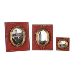 Abeo Red Photo Frames Set/3 - Burnt Red With Brass Accents. Sizes: Sm-5x5x1, Med-8x10x1, Lg-9x11x1. Holds Photos 3x3, 4x6 & 5x7.