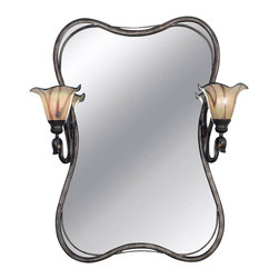Kenroy - Kenroy 90890TS Inverness Transitional Vanity Mirror - You won't be able to take your eyes off these stunning art glass shades evoking detailed handmade craftsmanship.  Paired with supple flowing ironwork in a Tuscan silver finish, the Inverness collection will be the star of your living space.  *Can Be Hard Wired or Cord/Plug Mounted *Cord Cover Included