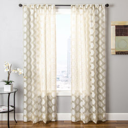 Blindsgalore - Blindsgalore Signature Drapery Panel: Hex Sheer - This beautiful sheer burnout drapery panel features a geometric pattern in décor-friendly colors. The sheer fabric gently filters light and provides a beautiful accent to the room. Pair these with an undertreatment like a wood blind for the perfectly dressed window. Blindsgalore's Signature drapery panels make your home beautiful with designer fabrics that don't have the designer price.