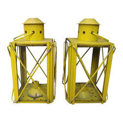 Yellow Lanterns - A fun set of yellow lanterns.  Perfect for the summer cabin or cottage.  a great little accent in an eclectic home, adding that little bit of nostalgic charm to any room.  Place them on a mantel, bookcase or garden ledge.