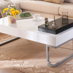 Furniture of America - Furniture of America Cassie Coffee Table in Glossy White Finish with Serving Tra - Add a contemporary touch to your home with this modern white coffee table. The piece features a glossy finish for style and sturdy steel legs for durability,and the black flip-top tray provides a surface on which to perch your snacks or drinks.