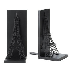 "Koehler Home Decor - Antiqued Black Metal Eiffel Tower Bookend Pair - Your books will instantly be more continental and well traveled when you stand them between these Eiffel Tower Bookends. One of the world's most recognizable landmarks can be yours (two, in fact. ) created from black metal wire and set on a metal base that's backed with flat anchors to keep them in place. Item weight: 2 lbs. Set: 9.87""x 4""x 9.5"" high, each is 4.5""x 4""x 9.5"" high. Metal and MDF wood. Pair."