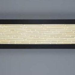 WPT Design - V-II Rectangle Bamboo Fluorescent ADA Wall Sconce - -Architectural resin  - White Art glass diffuser  - Steel powder coated bronze platform  - ADA  - Bulb included WPT Design - V-II-REC48-BZ-SB