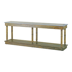 Currey & Co - Currey & Co 3095 Sansom Distressed Slate Console Table - While technology marches on, it still needs stately beauty upon which to rest. This Currey & Co 3095 Sansom distressed slate console table provides the perfect background for modern gadgets. Distressed wood finishing takes a beautiful piece of furniture and adds to its stunning appearance with an aged look. At 31-inches tall and 85-inches wide, this distressed slate will add beauty to gaming consoles, make an antique sleek, or house some serious books for serious collectors.