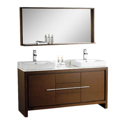 """Fresca - 60 Inch Double Sink Bath Vanity in Gray Oak, Wenge Brown - The Fresca 60"""" Allier double sink bathroom vanity is the perfect model for the newlywed.  It offers his and hers separate sinks, along with a unique square design.  Plenty of storage space is available with an additional shelf on the matching mirror.  Many faucet styles to choose from. Dimensions: 59.5""""W X 20""""D X 34.25""""H (Tolerance: +/- 1/2""""); Counter Top: White Stone; Finish: Wenge Brown; Features: 2 Doors, 3 Drawers; Hardware: Chrome; Sink(s): Top Mount White Ceramic; Faucet: Pre-Drilled for Standard Single Hole Faucet (Included); Assembly: Light Assembly Required; Large cut out in back for plumbing; Included: Cabinet, Sink, Choice of Faucet with Drain and Installation Hardware, Mirror (53.63""""W x 25.5""""H x 6""""D); Not Included: Backsplash, Linen Cabinet (FST8130 - 15.75""""W X 9.84""""D X 30""""H, FST8140 - 15.75""""W X 9.84""""D X 32""""H)"""