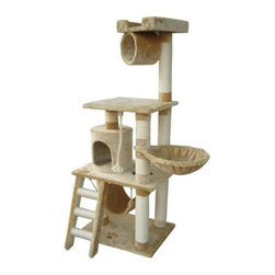 "Kitty Mansions - 62"" Boston Cat Tree - Features: -Cat tree.-Made of thicker plush fabric.-Non toxic materials.-Gives your cats their own area to call home.-Plenty of scratching posts to stop your cat from destroying your furniture.-Multiple platforms.-Great for multiple cats or one cat.-Designed to look good in your home.-High quality construction gives a longer lifespan.-The 62'' Boston Cat Tree by Kitty Mansions offers an exciting playground for your furry friends. This cat tree offers plenty of space to hide, claw, climb and play, including a ladder, cubby, platforms, hammock and more. Ladder rungs and posts are wrapped in sisal rope, enticing your cat to sharpen their claws on the tree instead of your furniture, while the soft fabric provides a plush space for your cat to lounge. Cats naturally seek out the highest area in a room to call their own, and the ample height of the 62'' Boston Cat Tree gives them a great place to survey their domain from instead of your bookcase or mantel. Standing 62 high and with a footprint of 25 W x 20 D, the 62'' Boston Cat Tree gives your cat a place to call to call their own, and includes a 12 x 12 top platform and a 25 x 15 lower platform. A swinging rope gives them a fun toy to bat at, while a hammock on the lower platform and a bowl to the side present places for you cat to hang out. Available in brown, beige or mocha colors, the neutral tones help will look at home in any d cor. Made of non-toxic materials, and made with easy assembly in mind, this kitty castle is an ideal addition to homes with curious cats..-Distressed: No.Dimensions: -Overall Height - Top to Bottom: 62.-Overall Width - Side to Side: 62.-Overall Depth - Front to Back: 20.-Overall Product Weight: 50 lbs.Assembly: -Assembly required."
