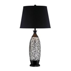 Black End Table Lamp: 31 in. Chrome Table Lamp with Black Fabric Shade CLI-LS-21