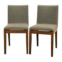 Baxton Studio - Baxton Studio Moira Brown Modern Dining Chair (Set of 2) - Do not let the simplicity of the Square Dining Chair fool you ??? sharp, clean details fill every inch.  Delight in the sturdy solid rubberwood construction, an eco-friendly option for furniture.  Each chair is made of brown wood with hazel twill seats with foam cushioning.  Adding to the modern design is an intentional gap between the chair seats and their wooden bases, creating an illusion of a floating seat.  This chair is also available in black, and both colors have matching tables (all sold separately).  Assembly is required.