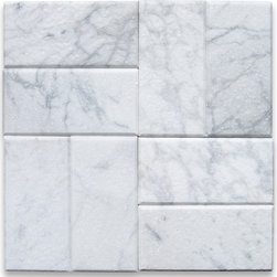 """Stone Center Online - Carrara White 3 x 6 Subway Tile Tumbled - Marble from Italy - Premium Grade Carrara Marble Italian White Bianco Carrera Tumbled 3x6"""" Wall & Floor Tiles are perfect for any interior/exterior projects such as kitchen backsplash, bathroom flooring, shower surround, countertop, dining room, hall, lobby, corridor, balcony, terrace, spa, pool, etc. Our large selection of coordinating products is available and includes hexagon, herringbone, basketweave mosaics, field tiles, moldings, borders, and more."""
